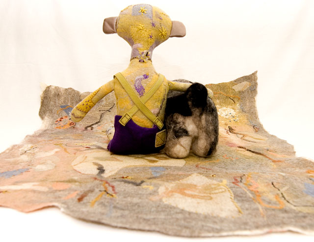 soft toys 'flying carpet'. carpet and monkey are felt panels with hand embroidery machine stitching needle felting