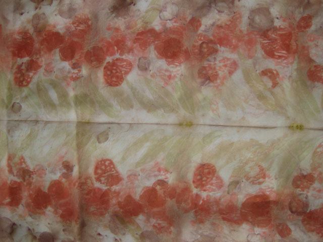eucalyptus eco print silk scarf detail