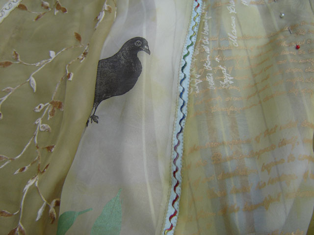 collage skirt detail. screenprinted hand embroidered devore recycled and new fabrics