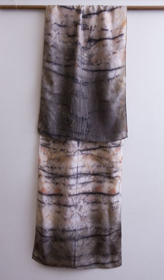 silk dupion scarf dyed with eucalyptus and iron