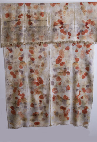 Indian Khadi ecoprint/shibori dyeing