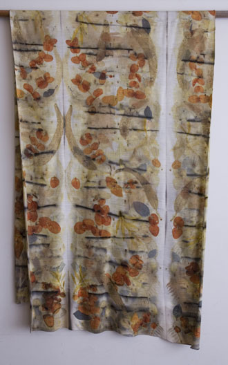 large merino wool jersey wrap printed with eucalyptus, prunus, olive leaf and iron