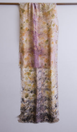 silk dupioni scarf ecoprinted using cochineal, iron, eucalyptus leaf and coreopsis
