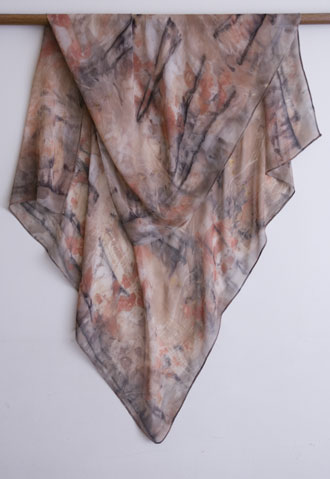 silk georgette scarf - eucalyptus and iron