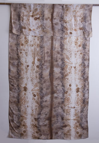 silk dupioni wrap - eucalyptus dyes and ecoprint