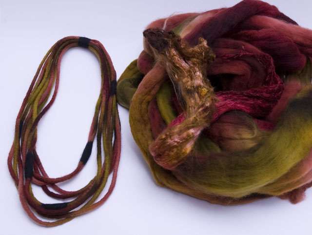 hand dyed wool and silk felted neckpiece